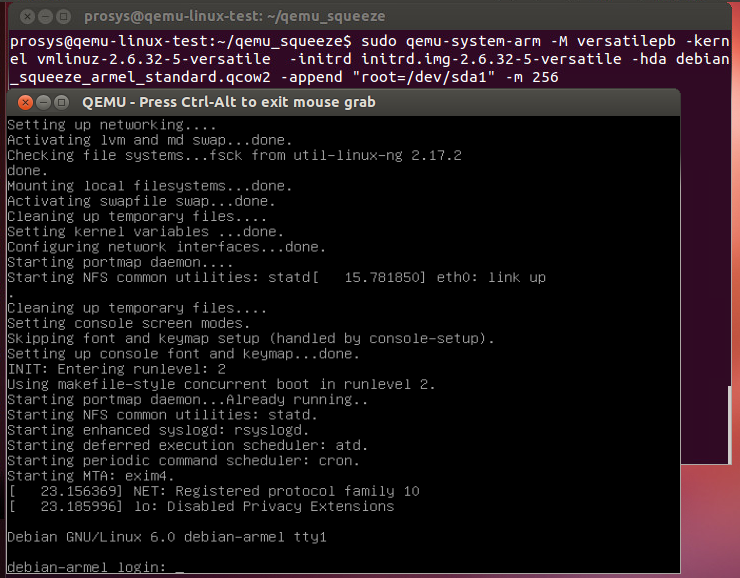 QEMU + ARM test setup