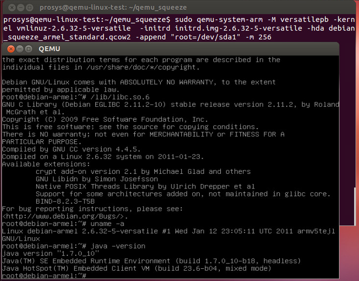 QEMU + ARM test setup